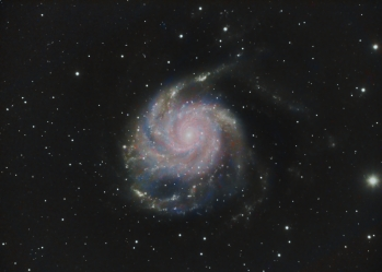Object: M101 Pinwheel Galaxy, Camera/Mount: ZWO ASI1600MMPro on Losmandy G11 Gemini, ZWO 120MC Autoguider, Telescope/Lens: Celestron EdgeHD800+Reducer, Exposure:  5,8h LRGB, 120s Subs (Date: 25.03.20/26.03.20,)